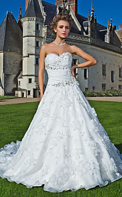 A-line Sweetheart Strapless Chapel Train Organza Wedding Dress