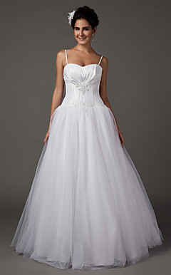 A-line Sweetheart Floor-length Taffeta Wedding Dress With Removeable Straps