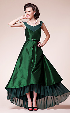 A-line V-neck Asymmetrical Chiffon And Taffeta Mother of the Bride Dress