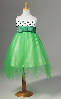 Chiffon Flower Girl Dress With Polka-dot