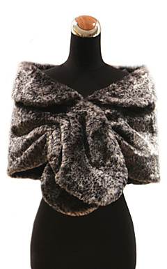 Gorgeous Faux Rabbit Fur Special Occasion Shawl