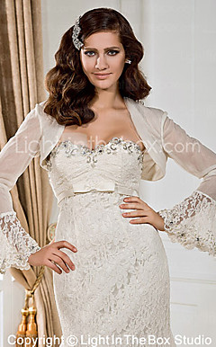 Elegant Long Sleeves Organza og Lace Bridal Jacket / Wedding Wrap