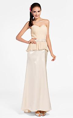 Sheath/ Column Sweetheart Floor-length Chiffon Stretch Satin Bridesmaid Dress