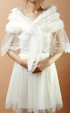 Nice Faux Fur &amp; Tulle Evening/Wedding Shawl