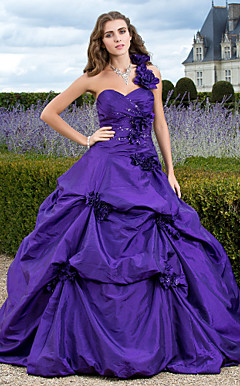 Ball Gown One Shoulder Floor-length Taffeta Evening Dress