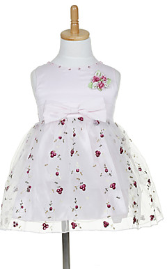 A-line Sleeveless Mini length Tulle &amp; Satin Flower Girl Dress With Embroidery &amp; Bow (More Colors)