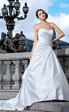 A-line Sweetheart Strapless Satin Wedding Dress