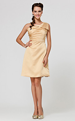 A-line One Shoulder Knee-length Satin Bridesmaid Dress