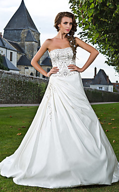 A-line Strapless Court Train Satin Wedding Dress