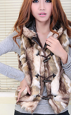 Fashion Faux Fur Sleeveless Hood Collar Vest