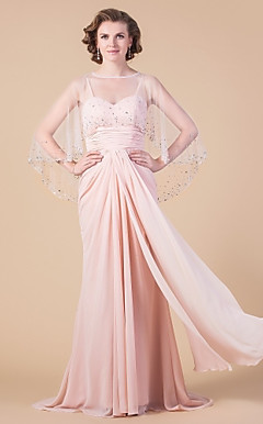 Sheath/Column Sweetheart Sweep/Brush Train Chiffon Mother of the Bride Dress With A Wrap