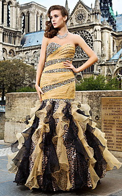 Trumpet/Mermaid Sweetheart Floor-length Organza Evening Dress With Beading And Side Draping