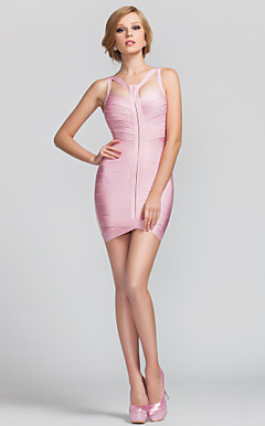 Sheath/Column Straps Short/Mini Rayon Bandage Dress