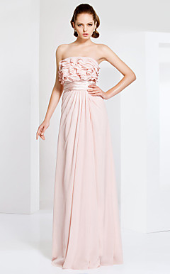 Strapless Sheath/Column With Floor-length Chiffon Evening Dress