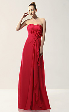 Sheath/ Column Strapless Floor-length Draped Chiffon Over Mading Bridesmaid/ Wedding Party Dress