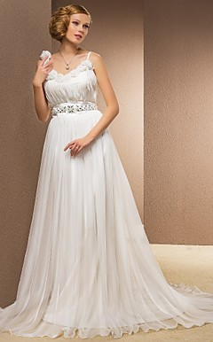 A-line Princess Straps Sweetheart Chapel Train Chiffon And Organza Wedding Dress