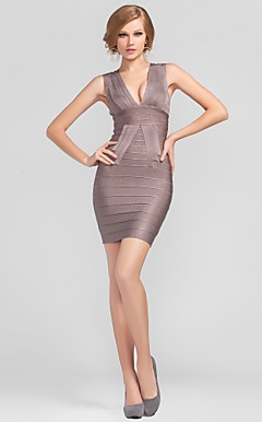 Sheath/Column V-neck Short/Mini Rayon Nice Bandage Dress