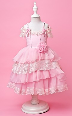 A-line|Princess Off-the-shoulder|Spaghetti Straps Tea-length Organza and Satin  Flower Girl Dress