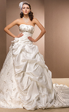 Ball Gown Strapless Satin And Taffeta Cathedral Train Wedding Dress with Pick-ups