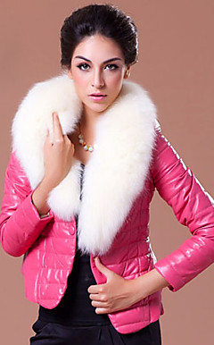 Wonderful Long Sleeve Fox Fur Shawl Collar Lambskin Leather Casual/Office Jacket (More Colors)
