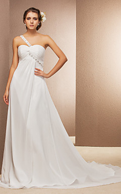 A-line One Shoulder Court Train Chiffon Wedding Dress