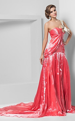 A-line One Shoulder Chapel Train Organza Evening Dress