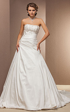 Ball Gown Strapless Cathedral Train Taffeta Wedding Dress
