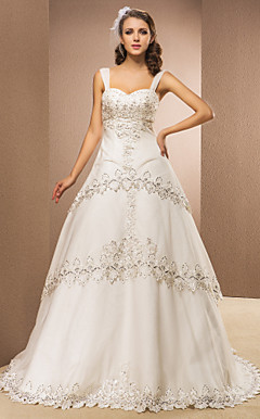 Ball Gown Sweetheart Chapel Train Tulle Wedding Dress