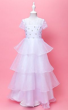 A-line Jewel Floor-length Organza Flower Gril Dress