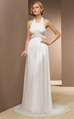 Sheath/Column Halter Sweep/Brush Train Chiffon And Stretch Satin Wedding Dress