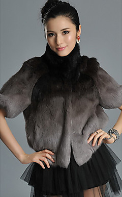 Half Sleeve Standing Collar Rabbit Fur Casual/Party Jacket (More Colors)