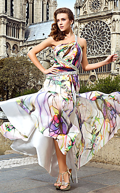 Trumpet/Mermaid One Shoulder Sweep/Brush Train Printed Chiffon Evening Dress