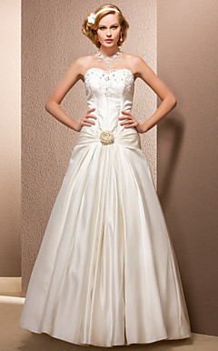 Ball Gown Sweetheart Floor-length Satin Wedding Dress