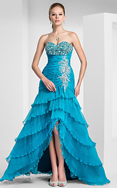 A-line Sweetheart Floor-length Organza Evening Dress