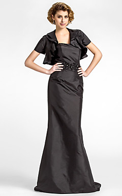 Sheath/Column Strapless Sweep/Brush Train Taffeta Mother of the Bride Dress With A Wrap