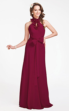 Sheath/Column High Neck Floor-length Chiffon Bridesmaid Dress