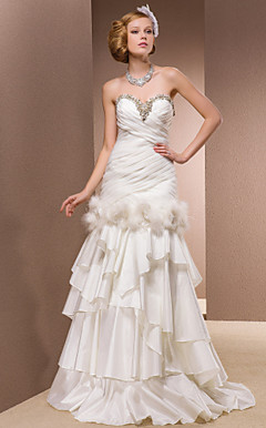 Two-In-One Trumpet/Mermaid Sweetheart Floor-length Organza And Satin Wedding Dress