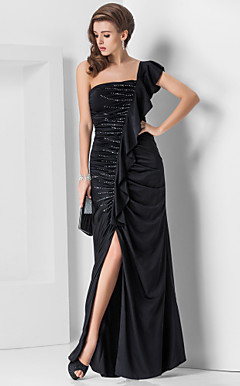 Sheath/Column One Shoulder Floor-length Spandex Evening Dress