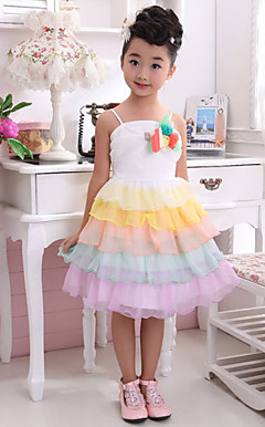 Chic rmels Polyester / tyl bryllup / Evening Flower Girl Dress