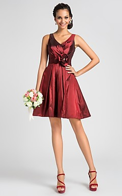 A-line V-neck Knee-length Taffeta Bridesmaid Dress