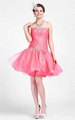Ball puku Sweetheart Lyhyt / Mini Tulle Prom Mekot