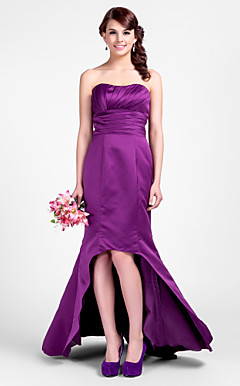 Trumpet/Mermaid Sweetheart Asymmetrical Satin Bridesmaid Dresses