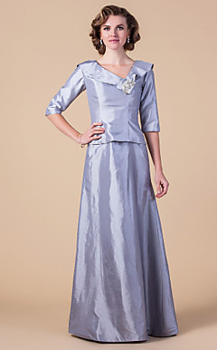 Sheath/Column V-neck Floor-length Taffeta Mother of the Bride Dress