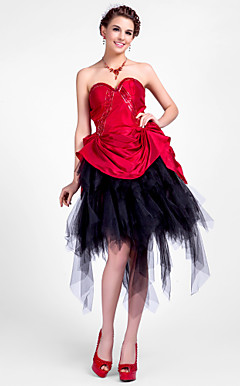 Ball Gown Sweetheart Asymmetrical Taffeta And Tulle Cocktail Dress