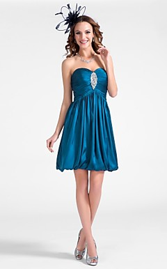 A-line Sweetheart Short/Mini Satin Chiffon Cocktail Dress