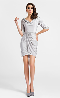 Sheath/Column Cowl Knee-length Spandex Cocktail Dress