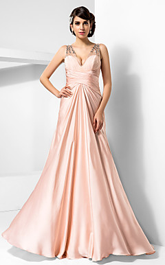 Sheath/Column V-neck Floor-length Satin Chiffon Evening Dress