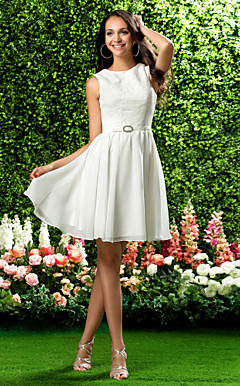 A-line Jewel Knee-length Chiffon and Lace Bridesmaid Dress