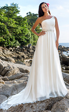 A-line One Shoulder Chapel Train Chiffon Wedding Dress