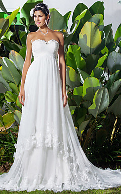 A-line Sweetheart Chapel Train Chiffon Wedding Dress